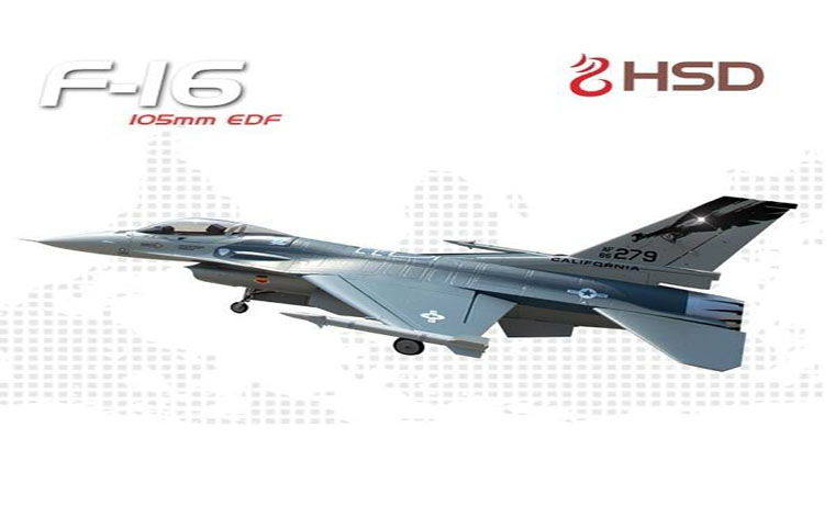 HSD F-16 Grey Camo 105mm EDF PNP With Stabilizer