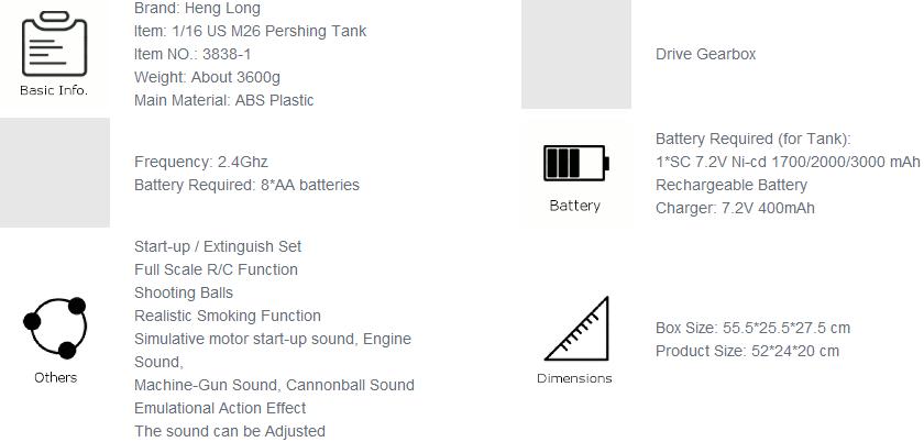 rc-toys, rc-cars-Heng Long 1/16 2.4G 3838-1 US M26 Pershing RC Tank-Heng Long Pershing Tank