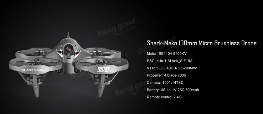 drones-DYS Shark-Mako 100mm FPV Racing Drone BNF-DYS Shark Mako Drone