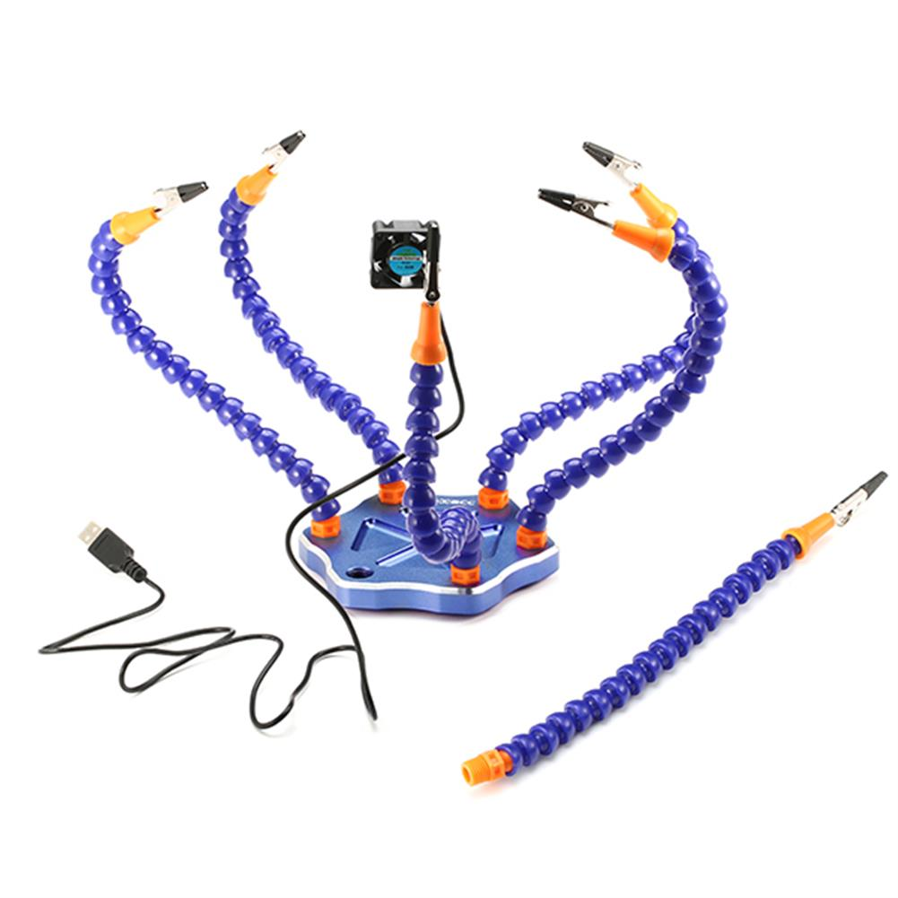 tools-bags-storage Realacc Strange Third Hand Six Arm Soldering Station with USB Fan for RC Drone FPV Racing RC1081818