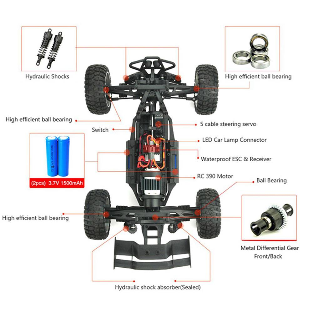 rc-cars HBX 12891 1/12 4WD 2.4G Waterproof Hydraulic Damper RC Desert Buggy Truck with LED Light RC1101815 4