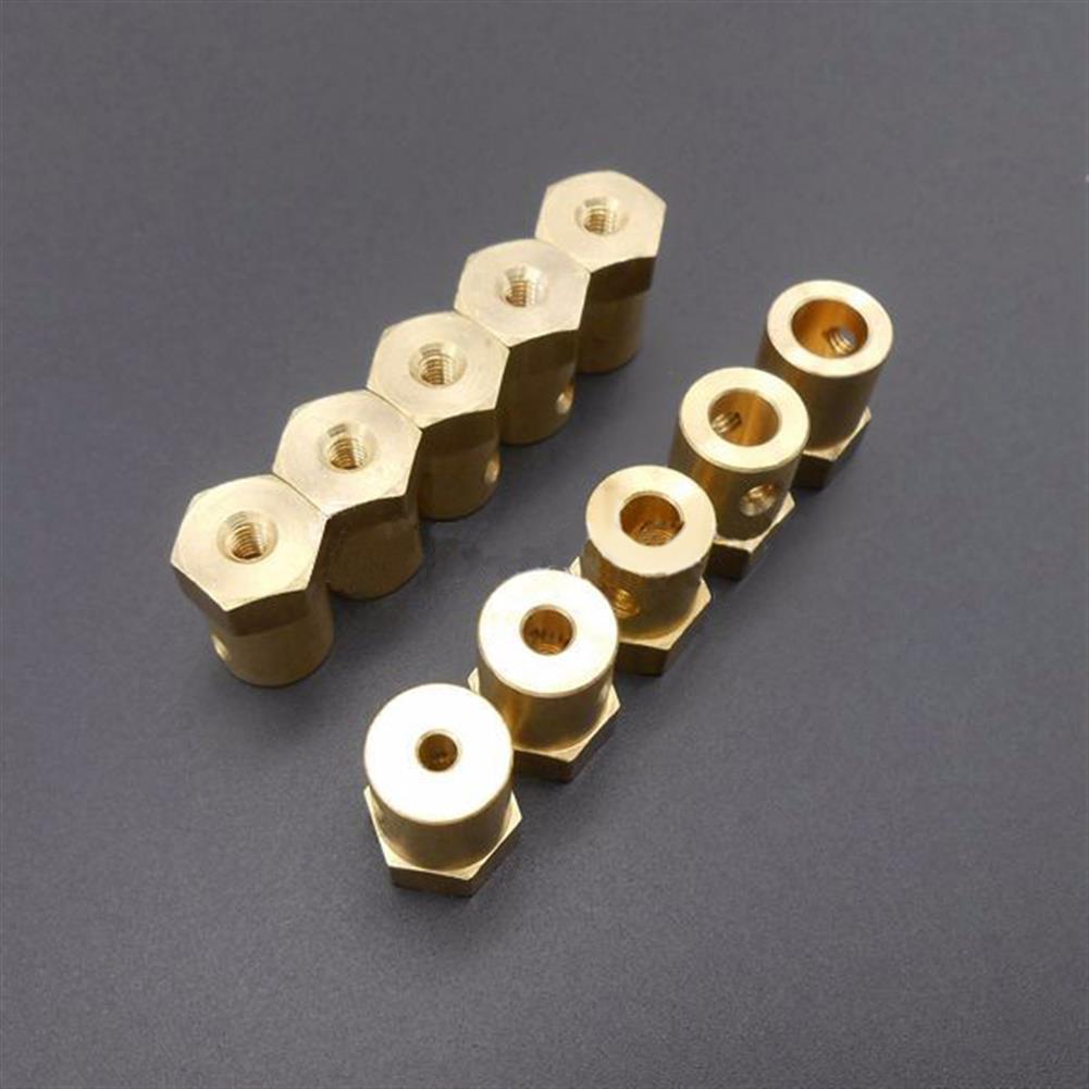 robot-parts-tools 3mm 4mm 5mm 6mm 7mm Hexagonal Copper Coupling Coupler for Robot Car Wheel RC1171587 4