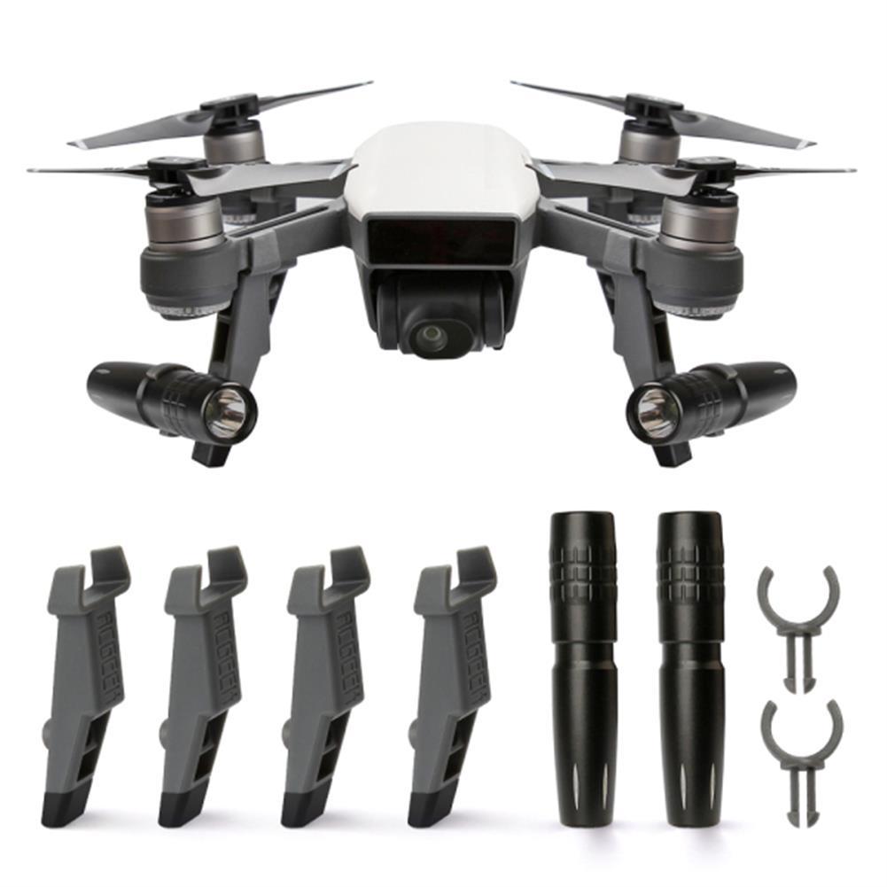 rc-quadcopter-parts-Rcgeek Extended Damping Landing Skids Landing Gear LED Headlamp Light Set For DJI Spark-RC1181539 1