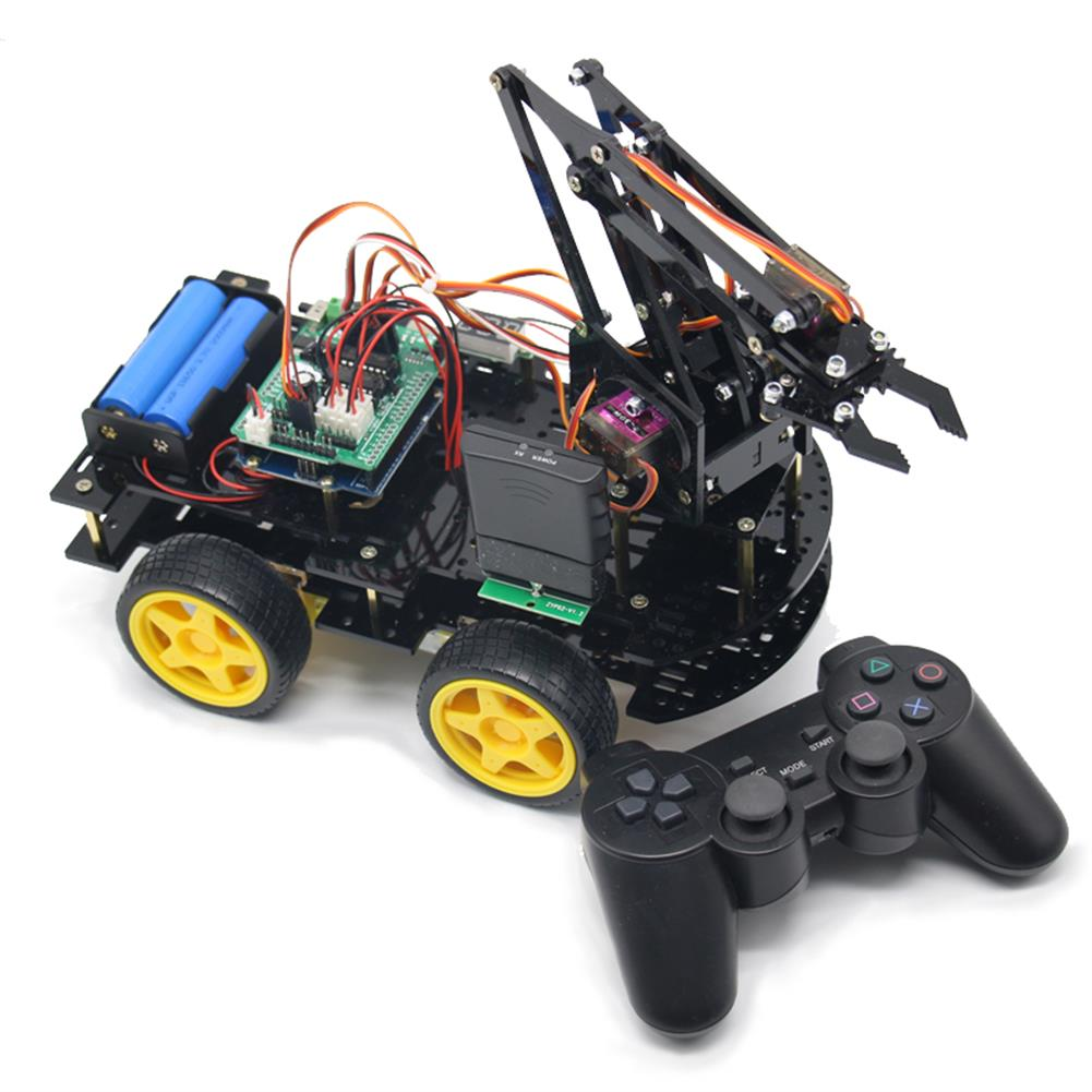 robot-arm-tank DIY meArm Robot Arm Car for Ardunio Program with PS Wireless Remote Control RC1260116