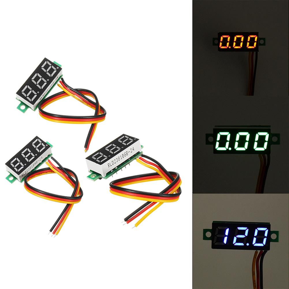 battery-charger 0.28 Inch Mini Digital Battery Voltage Checker Voltmeter DC 0-100V 3 Cables with Protection RC1268222