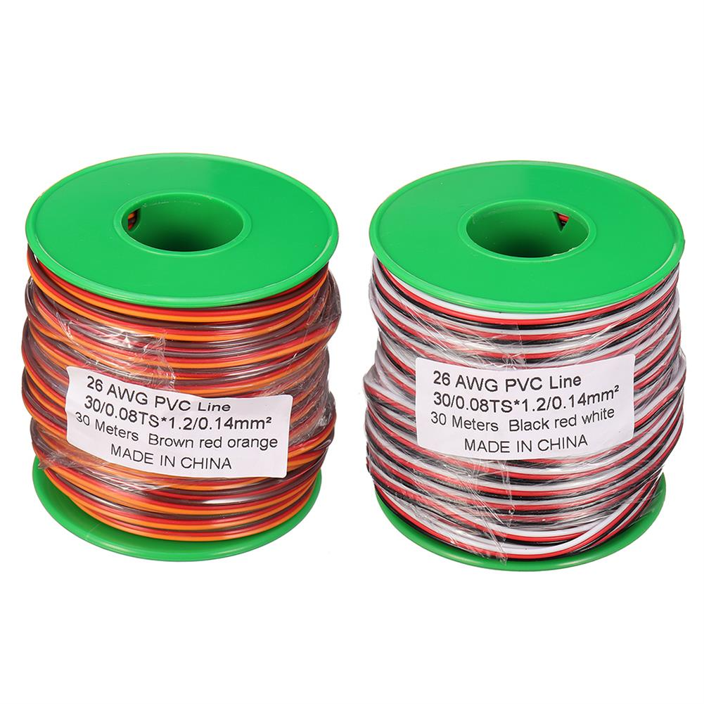 connector-cable-wire 30m 26AWG Soft Silicone Servo Cable Wire High Temperature Tinned Copper Flexible Wire RC1385641
