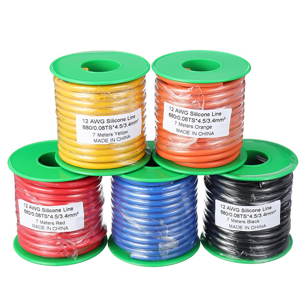 connector-cable-wire 7M 12AWG Soft Silicone Wire Cable High Temperature Tinned Copper RC1398071