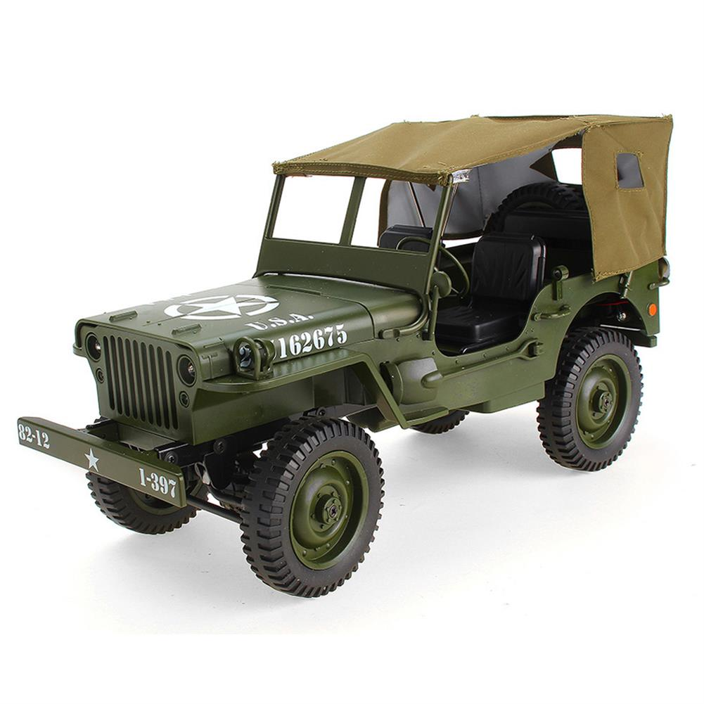 rc-cars JJRC Q65 2.4G 1/10 Jedi Proportional Control Crawler Military Truck 4WD Off-Road RC Car With Canopy LED Light RC1410857