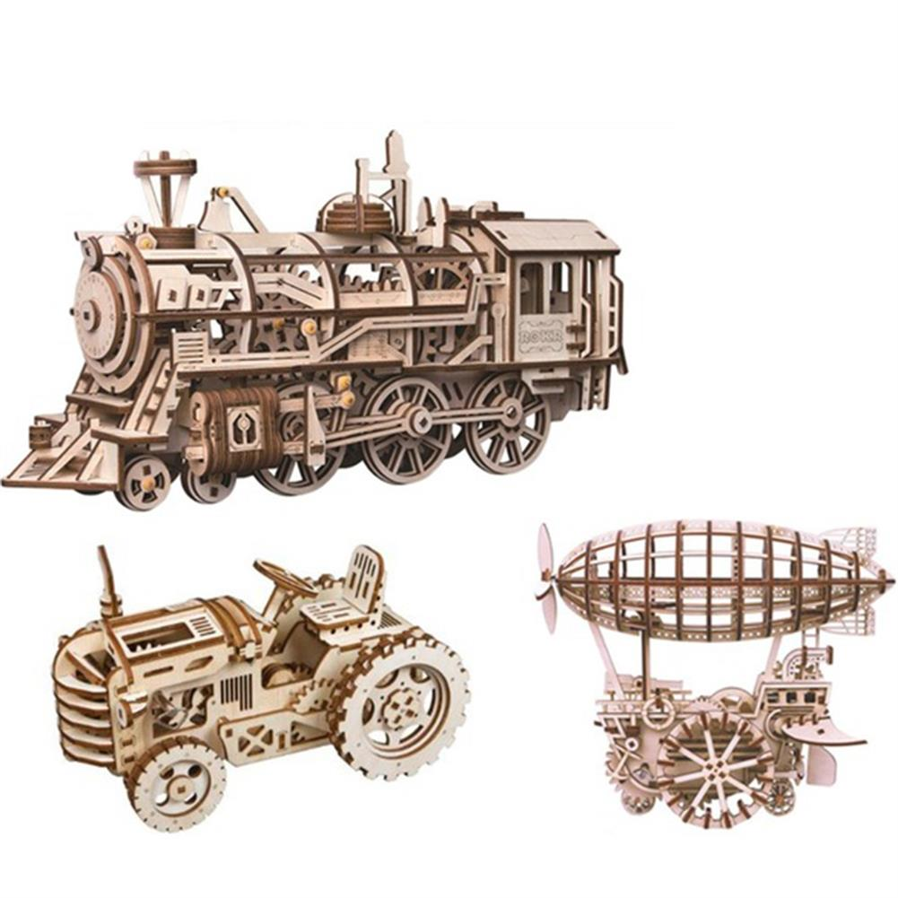 diy-education-robot ROBOTIME STEAM DIY Wooden Robot Toy Steam Train Airship Tractor Off Road Educational Toy Gift RC1444961
