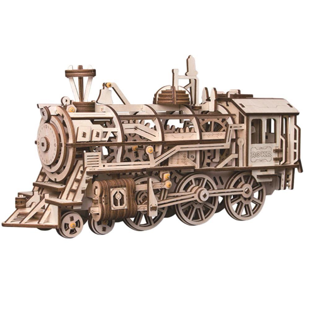 diy-education-robot ROBOTIME STEAM DIY Wooden Robot Toy Steam Train Airship Tractor Off Road Educational Toy Gift RC1444961 2