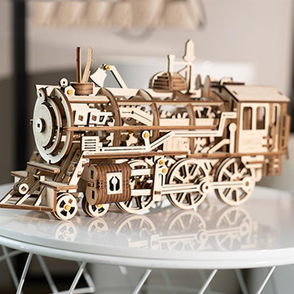 diy-education-robot ROBOTIME STEAM DIY Wooden Robot Toy Steam Train Airship Tractor Off Road Educational Toy Gift RC1444961 4
