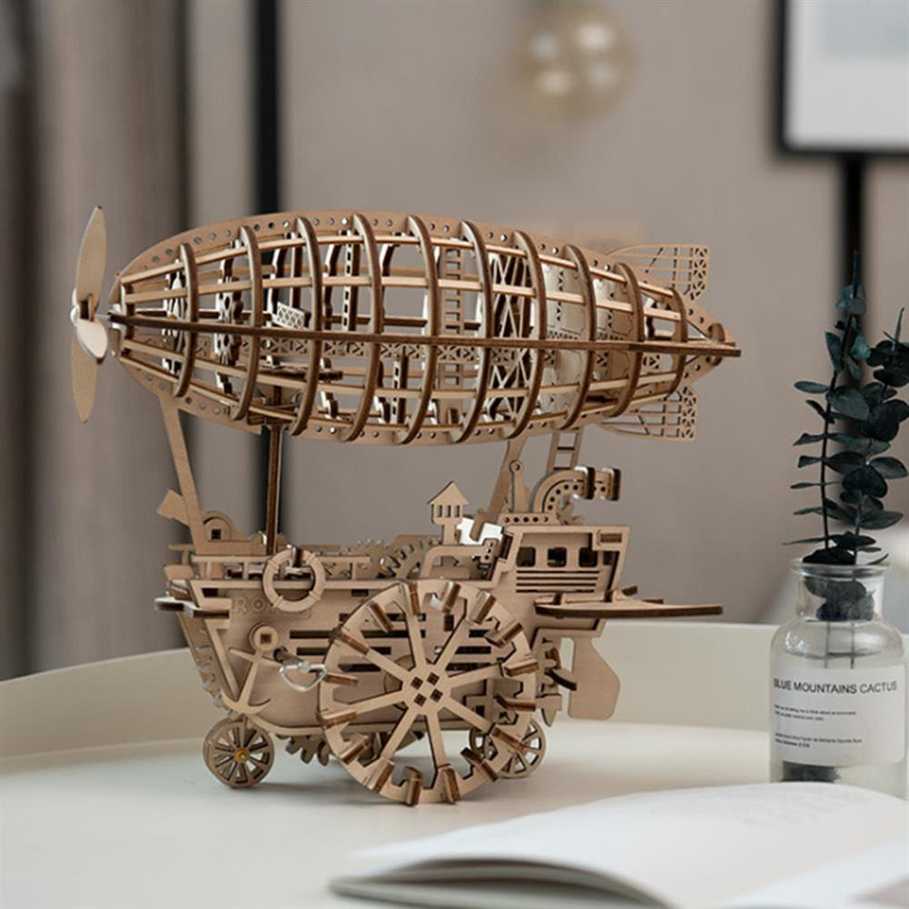diy-education-robot ROBOTIME STEAM DIY Wooden Robot Toy Steam Train Airship Tractor Off Road Educational Toy Gift RC1444961 5