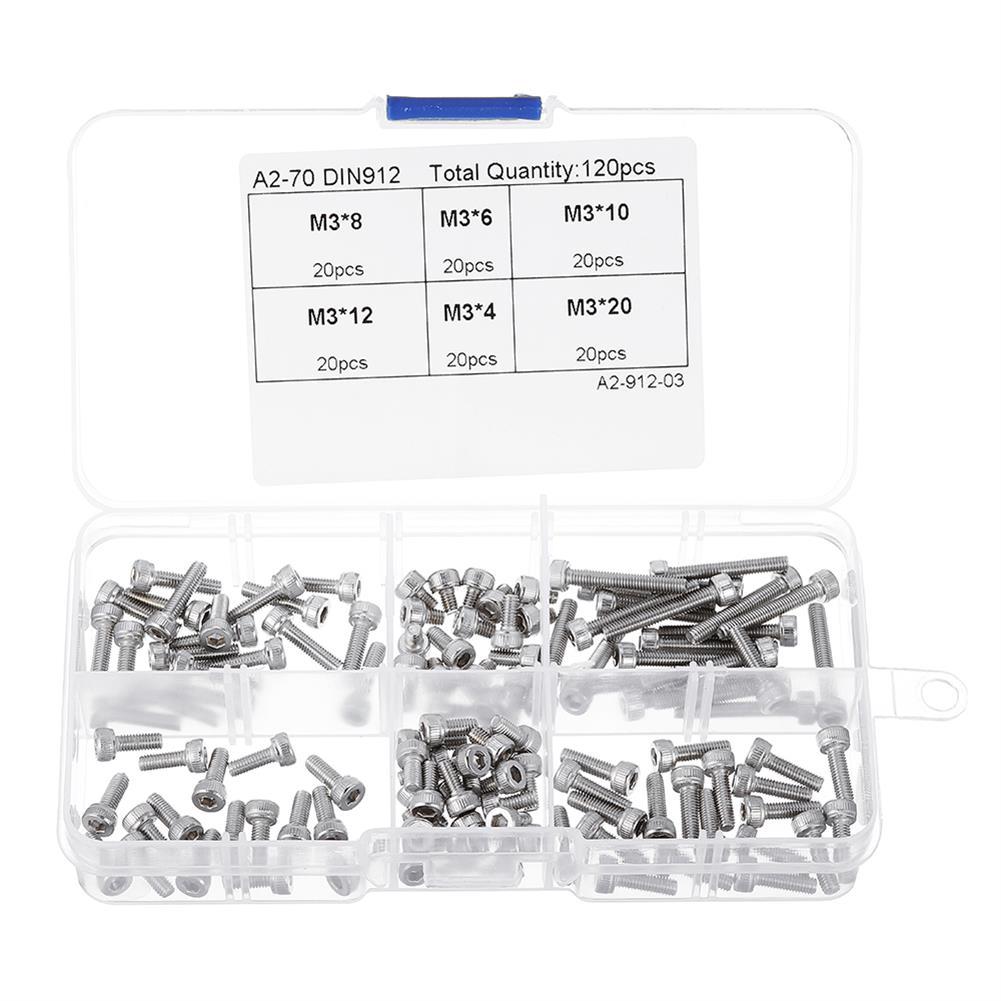 tools-bags-storage-120Pcs M3 304 Stainless Steel DIN912 Screw Hex Socket Cap Repair Tools for RC Model-RC1385643