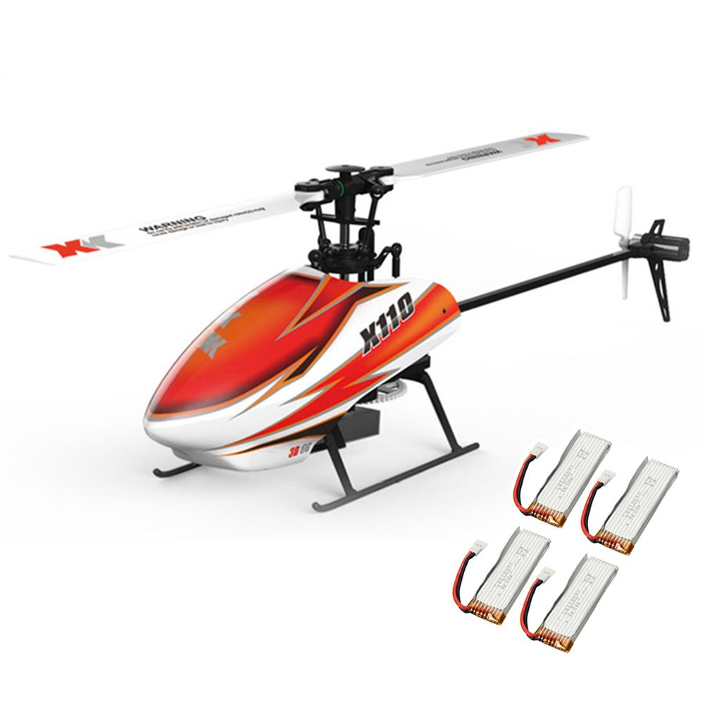 rc-helicopters XK K110 Blast 6CH Brushless 3D6G System RC Helicopter BNF With 4 Pcs Battery RC1390387