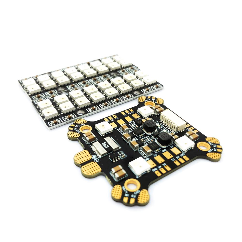 multi-rotor-parts FLYWOO Power Hub-LED REV1 PDB Built In 5V 9V 2A BEC WS2812 LED & 4 PCS 8 Bits LED Board For RC Drone RC1397863 1