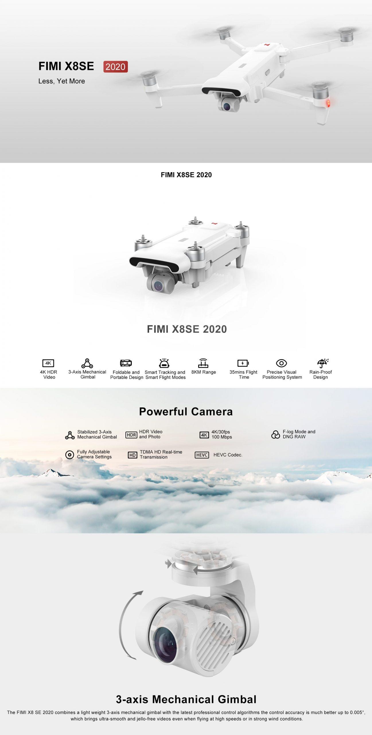 rc-quadcopters Xiaomi FIMI X8 SE 2020 8KM FPV 4K Camera HDR Video GPS RC Quadcopter xiaomi fimi x8se scaled