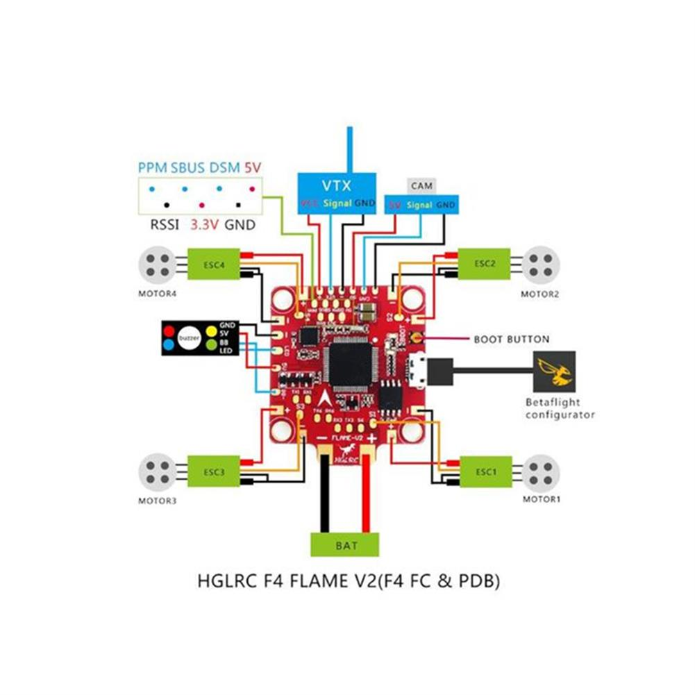 multi-rotor-parts HGLRC 30.5x30.5mm F4 FLAME V2 Flight Controller Betaflight OSD 5V BEC for RC Drone RC1295250 6