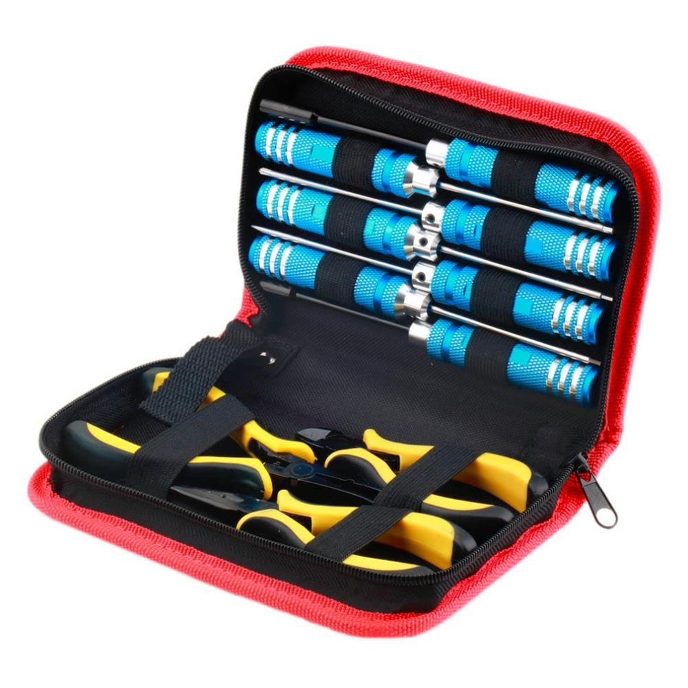 tools-bags-storage 10 in 1 RC Helicopter Screwdriver Pliers Hex Repair Tools Box Set with Bag RC1302099