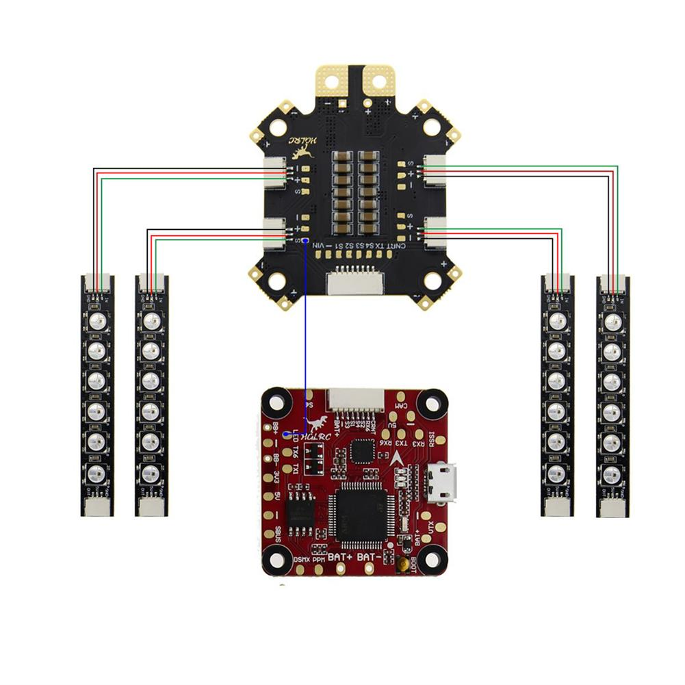 multi-rotor-parts 4PCS HGLRC 12V Output LED Light Board Color Switchable for RC Drone RC1358680 3