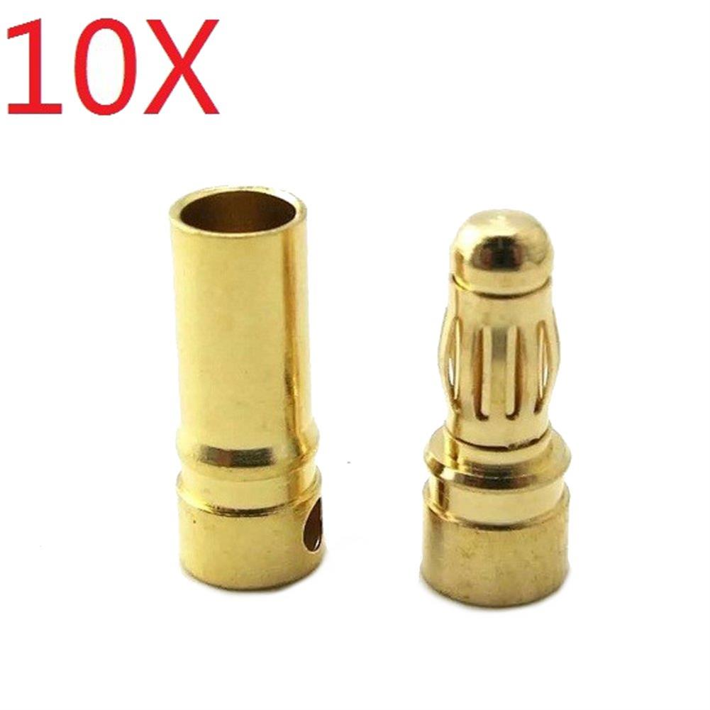 connector-cable-wire 10 Pair 4mm Gold Bullet Connector Banana Plug for ESC Battery Motor HOB1010239