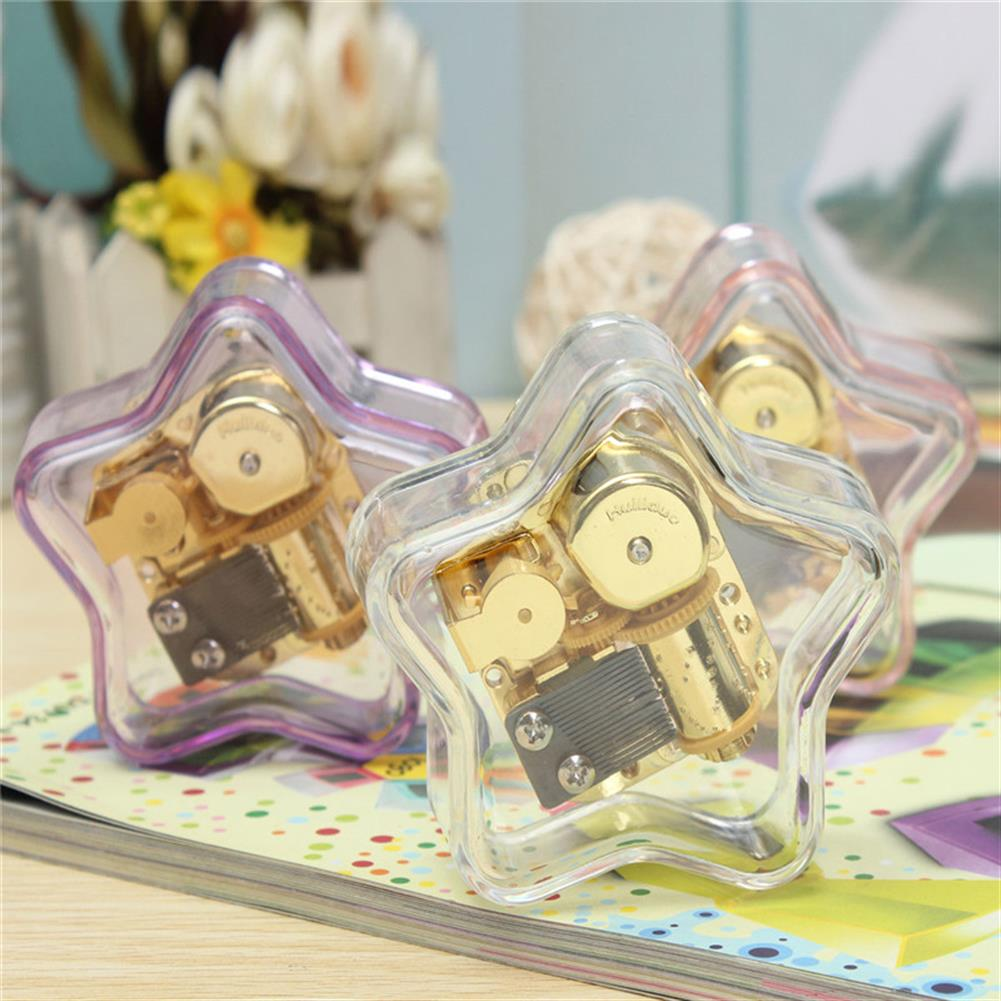 music-box Clear Hand Crank Music Box Star Wind Up Gurdy Melody Play Musical Movement Tunes HOB1022729