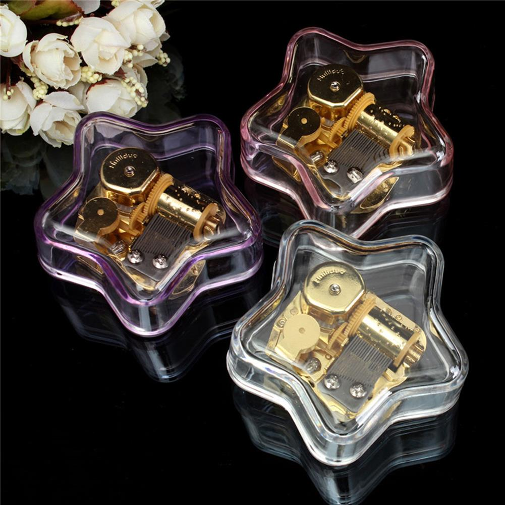 music-box Clear Hand Crank Music Box Star Wind Up Gurdy Melody Play Musical Movement Tunes HOB1022729 1