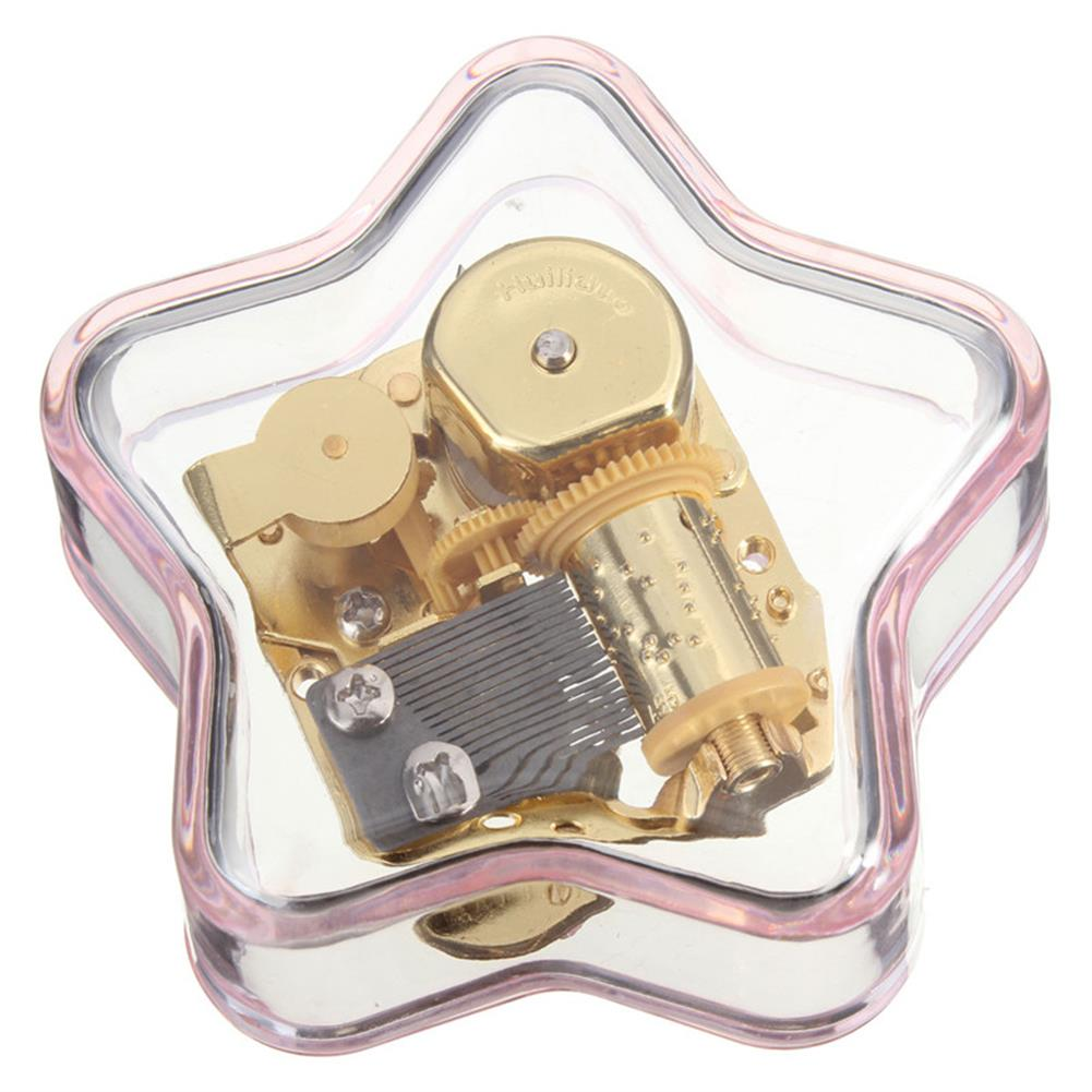 music-box Clear Hand Crank Music Box Star Wind Up Gurdy Melody Play Musical Movement Tunes HOB1022729 2