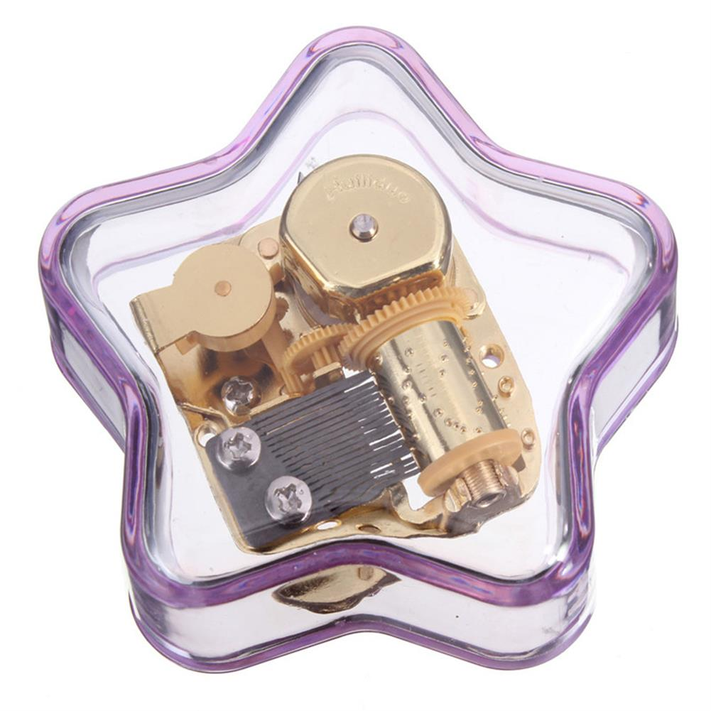 music-box Clear Hand Crank Music Box Star Wind Up Gurdy Melody Play Musical Movement Tunes HOB1022729 3