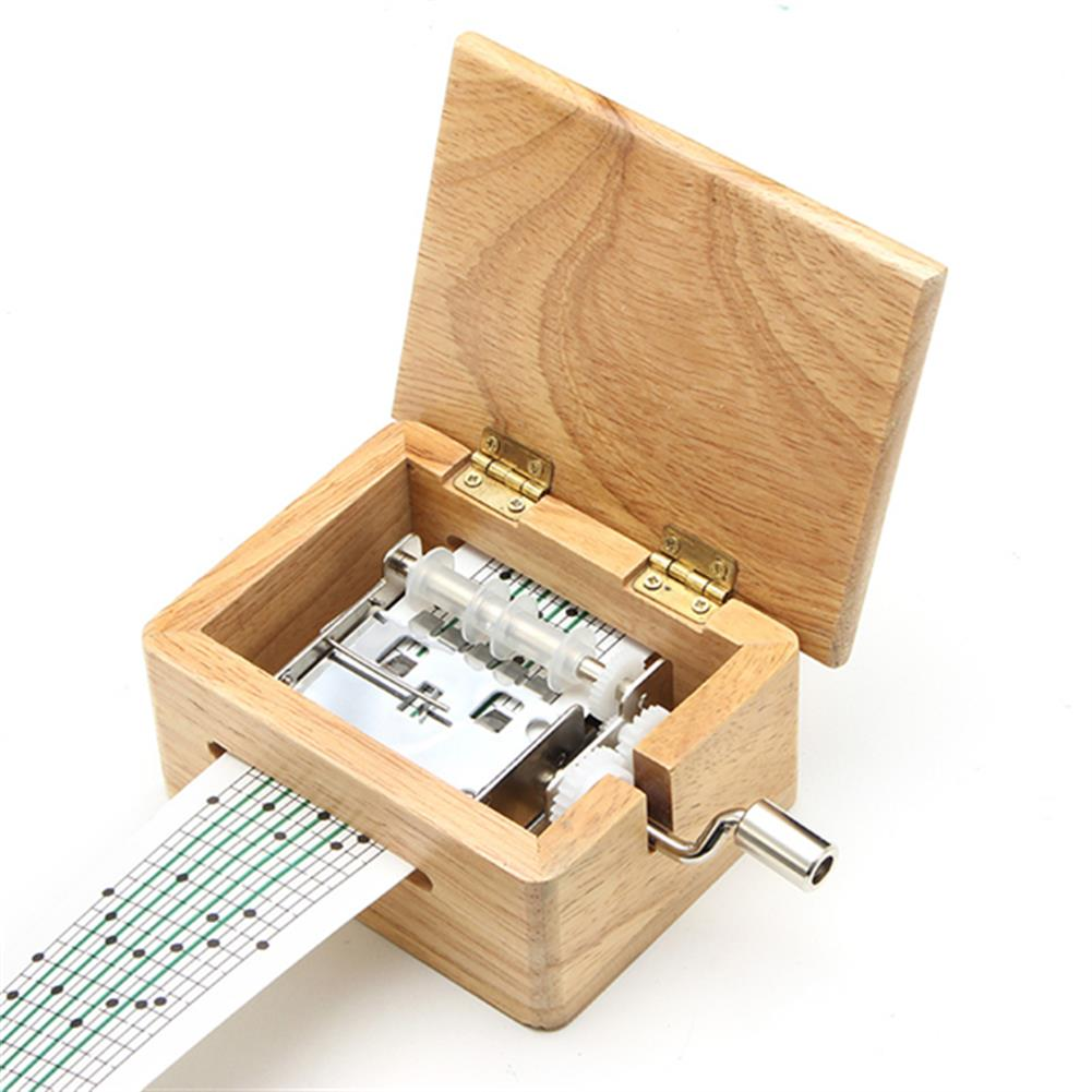 music-box DIY Hand-Cranked Music Box 15 Tone Wooden Box with Hole Puncher And Paper Tapes Birthday Gift Present HOB1040359
