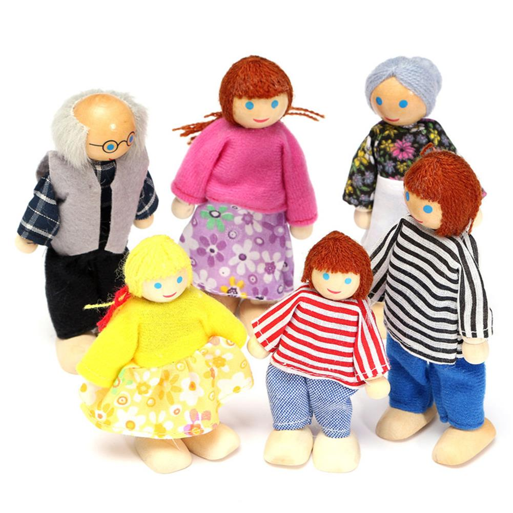 dolls-action-figure 6PCS Wooden Family Members Dolls Set Kids Children Toy Dollhouse Figures Dressed Characters HOB1057431