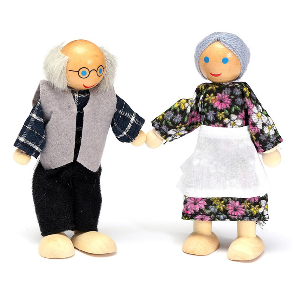 dolls-action-figure 6PCS Wooden Family Members Dolls Set Kids Children Toy Dollhouse Figures Dressed Characters HOB1057431 1