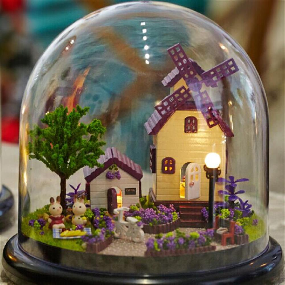 doll-house-miniature 1:32 Cuteroom Dollhouse Miniature Provence House DIY Kit with Cover And LED HOB1060400
