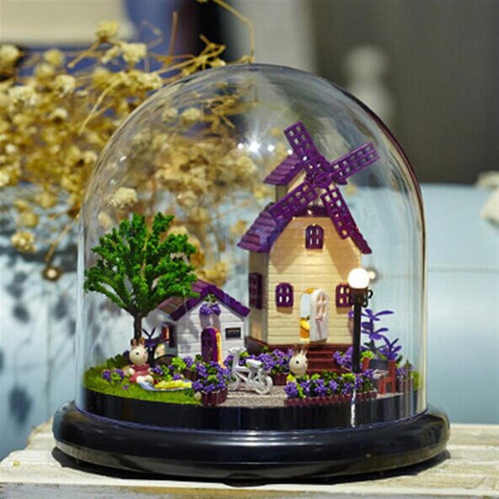 doll-house-miniature 1:32 Cuteroom Dollhouse Miniature Provence House DIY Kit with Cover And LED HOB1060400 1