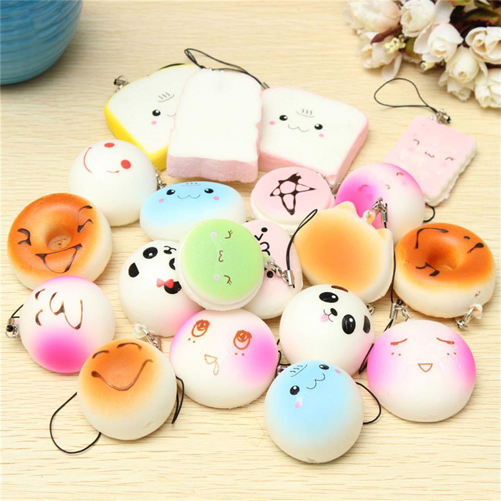 squishy-toys 20PCS Random Medium Mini Squishy Soft Panda Bread Cake Buns Phone Straps HOB1084852