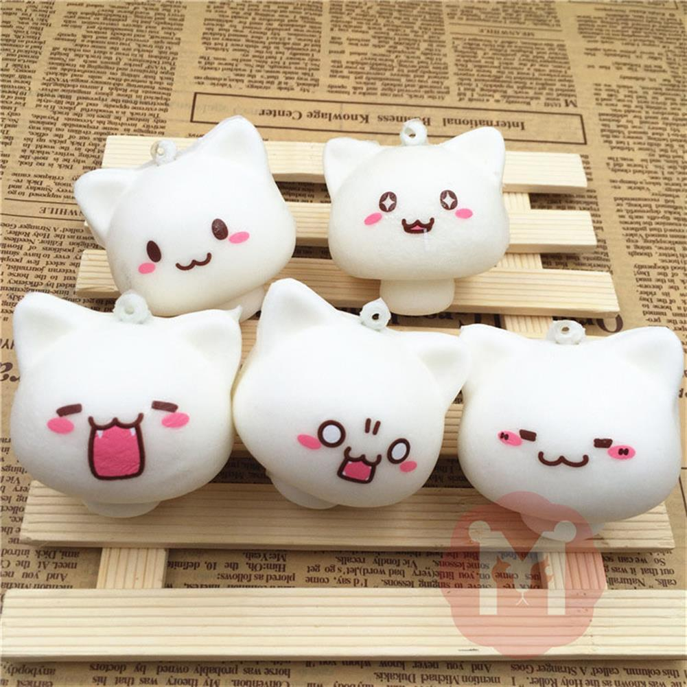 squishy-toys Squishy Toys Mushroom Cat Kawaii Cartoon Cute Face Decor Bag Cell Phone Straps HOB1092577