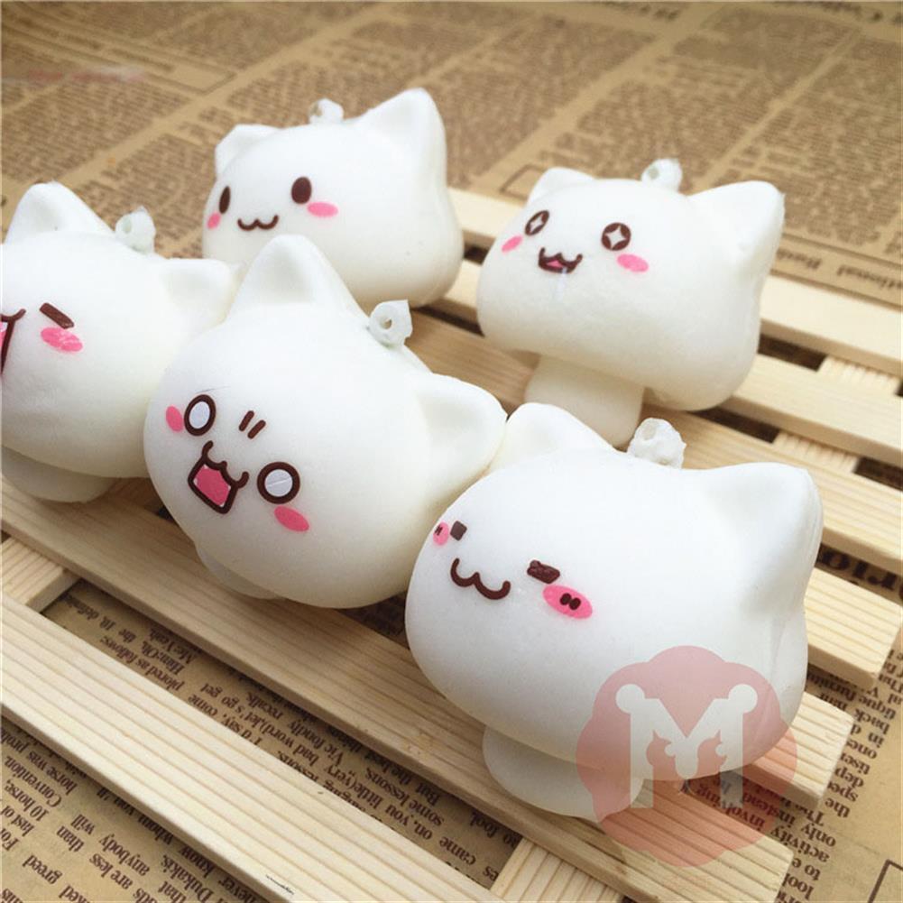 squishy-toys Squishy Toys Mushroom Cat Kawaii Cartoon Cute Face Decor Bag Cell Phone Straps HOB1092577 2