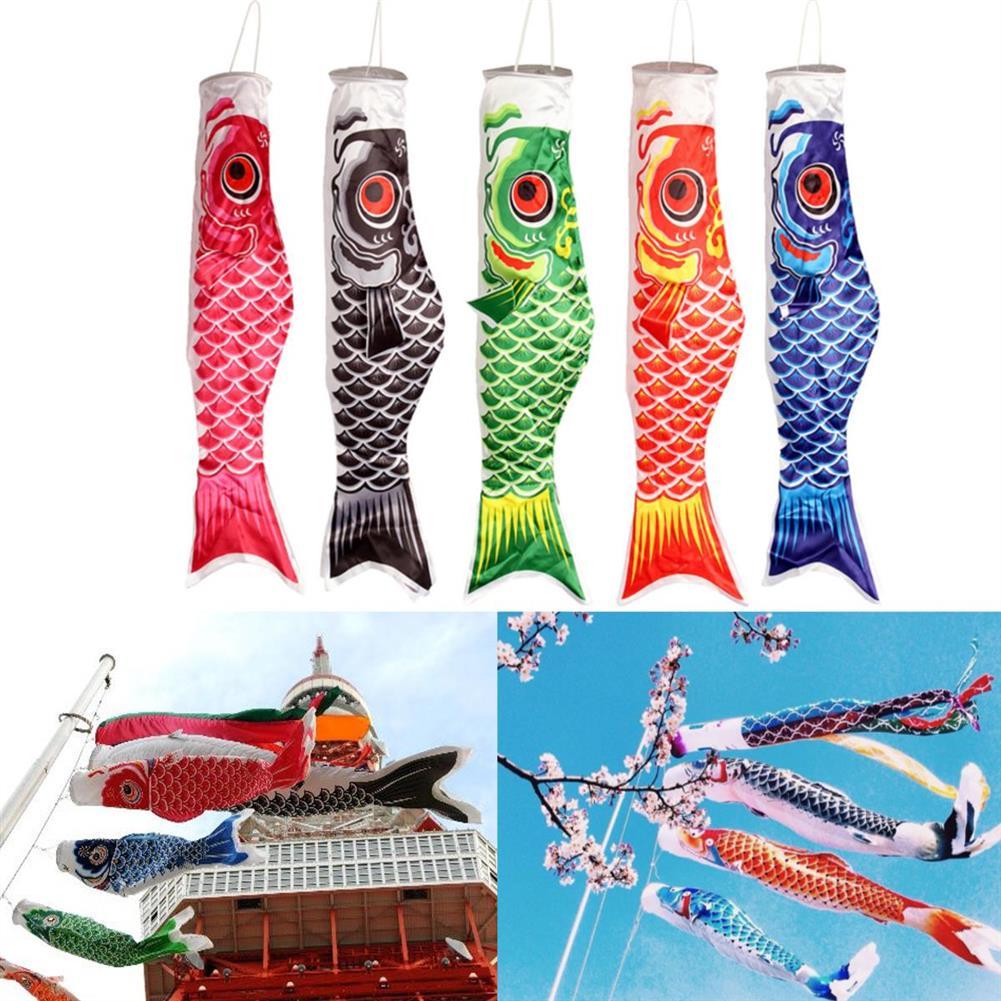 plane-parachute-toys 100cm Koi Nobori Carp Wind Sock Koinobori Fish Kite Flag Hanging Decor HOB1104287