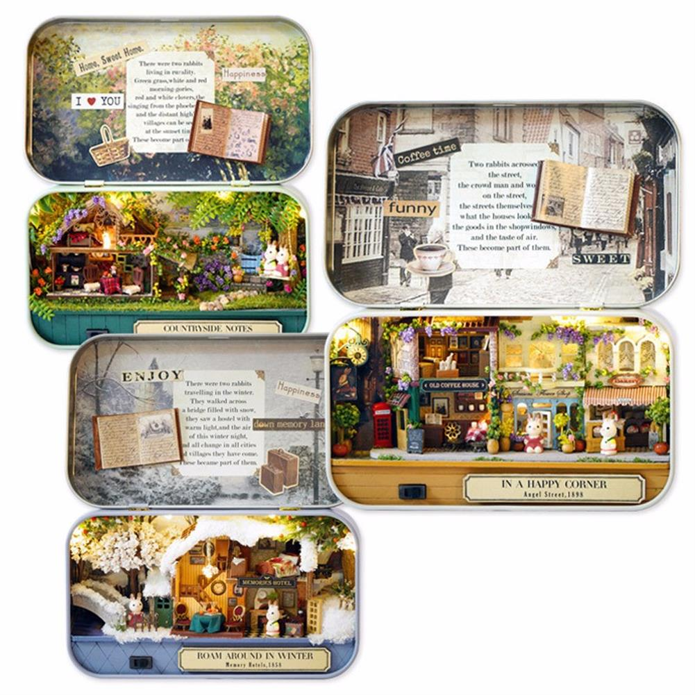 doll-house-miniature Cuteroom Old Times Trilogy DIY Box theatre Dollhouse Miniature Tin Box Doll House with LED Light Extra Gift HOB1113346