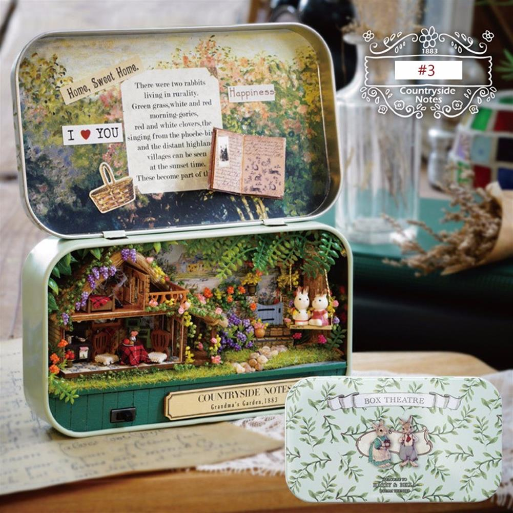 doll-house-miniature Cuteroom Old Times Trilogy DIY Box theatre Dollhouse Miniature Tin Box Doll House with LED Light Extra Gift HOB1113346 3