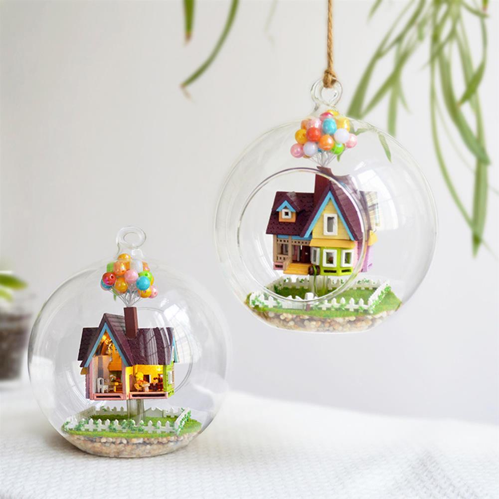 puzzle-game-toys 3D DIY Miniature Glass Ball Dollhouse LED Sound Control Light Doll House Creative Christmas Gift HOB1129760