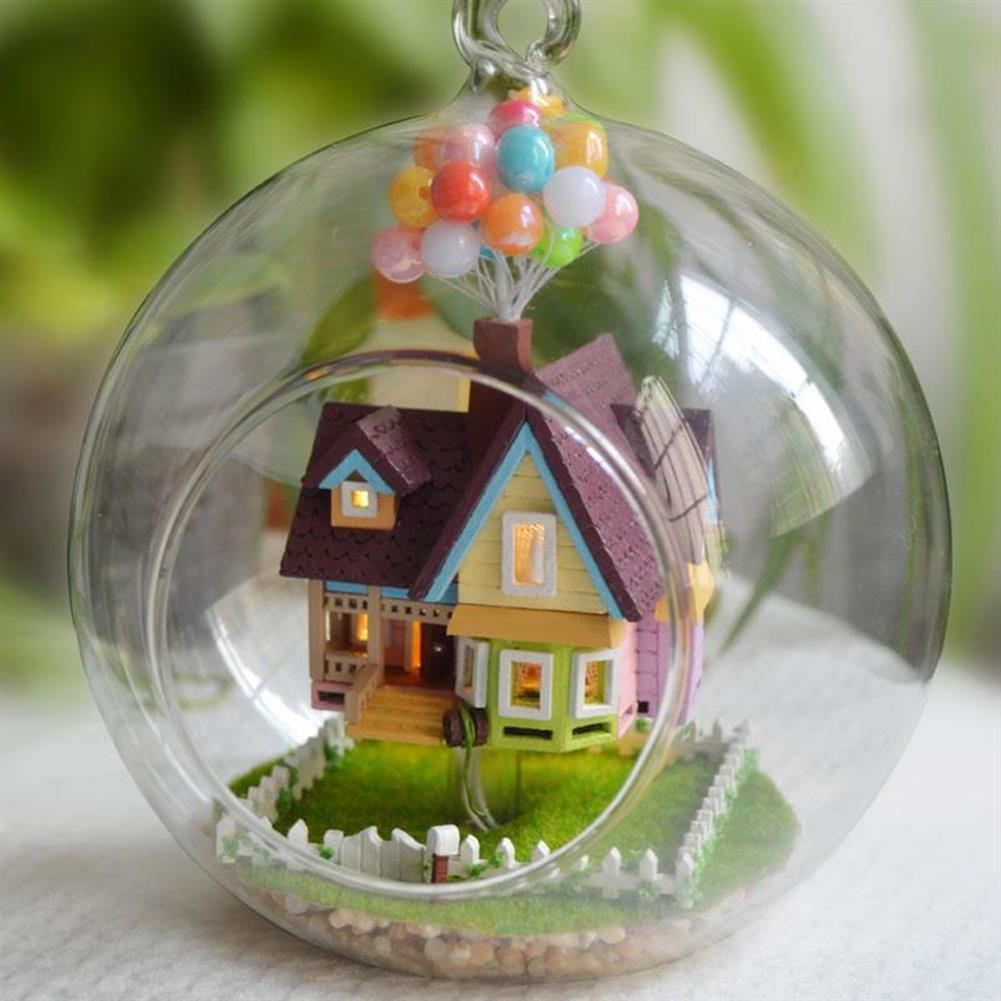 puzzle-game-toys 3D DIY Miniature Glass Ball Dollhouse LED Sound Control Light Doll House Creative Christmas Gift HOB1129760 2