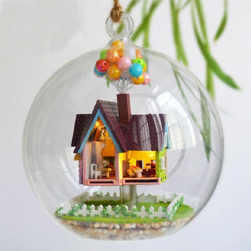 puzzle-game-toys 3D DIY Miniature Glass Ball Dollhouse LED Sound Control Light Doll House Creative Christmas Gift HOB1129760 3