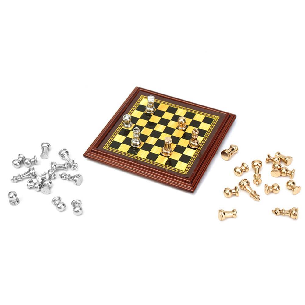 doll-house-miniature 1:12 Scale Dollhouse Miniature Metal Chess Set Board Toys Home Room Ornaments HOB1140050