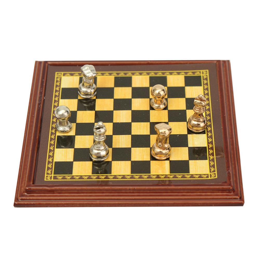 doll-house-miniature 1:12 Scale Dollhouse Miniature Metal Chess Set Board Toys Home Room Ornaments HOB1140050 1