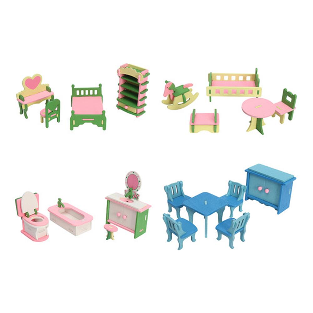 doll-house-miniature 4 Sets of Delicate Wood Dollhouse Furniture Kits for Doll House Miniature HOB1141475