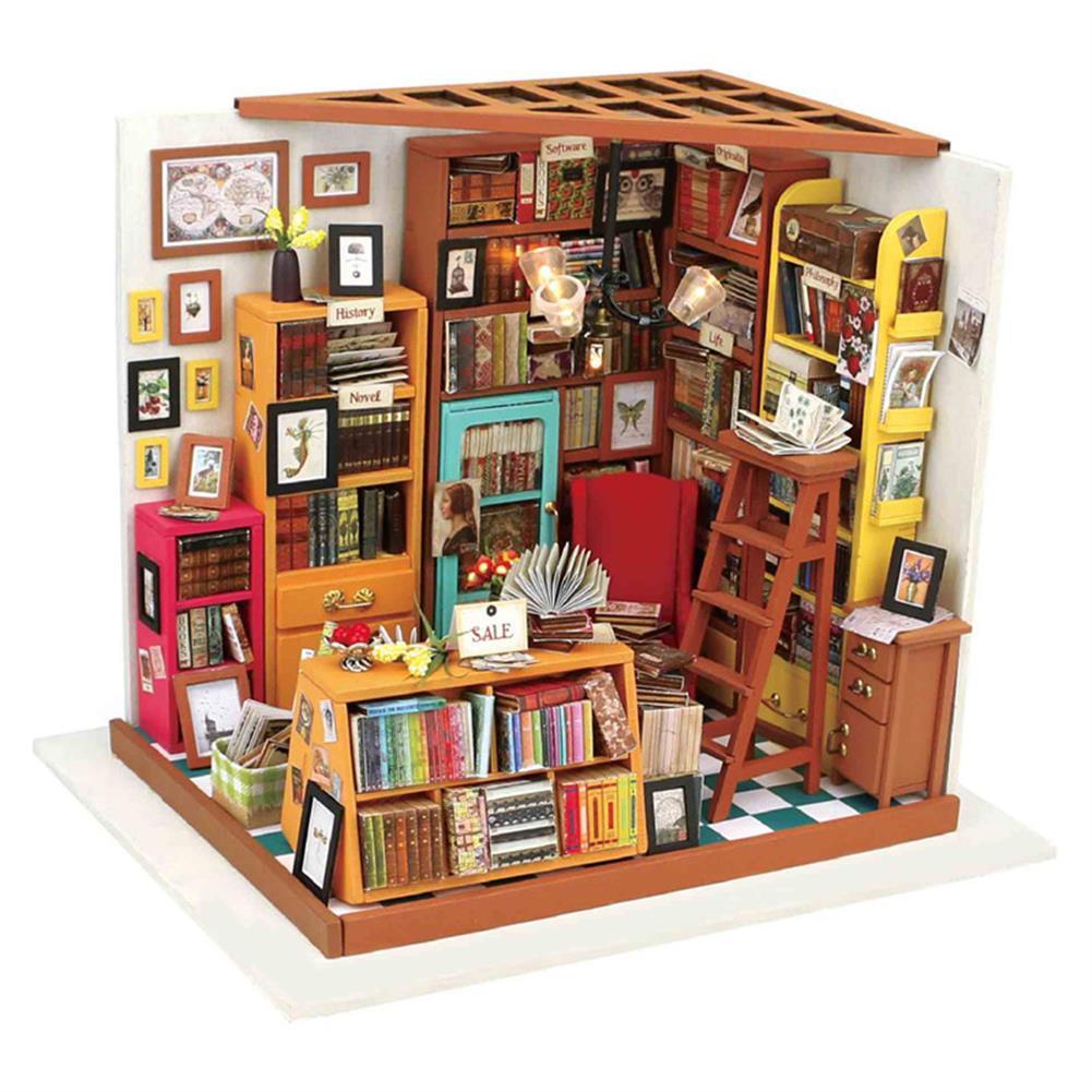 doll-house-miniature Robotime DG102 Sam Book Store DIY Dollhouse Miniature Furniture Kit HOB1142230