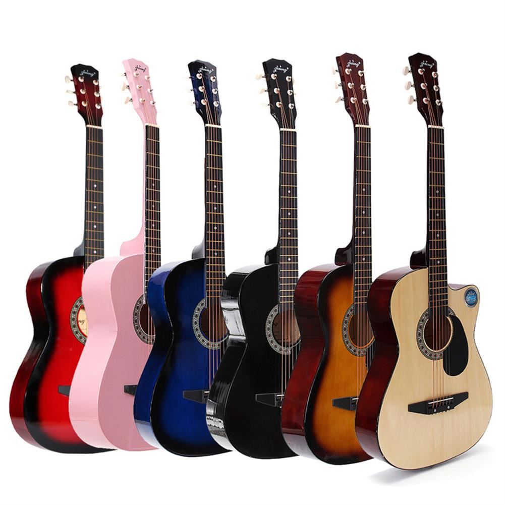 acoustic-guitars Jixing 38 inch Wooden Angled Acoustic Guitar 6 Color Folk Guitar with Storage Bag Gift for Beginner HOB1167808