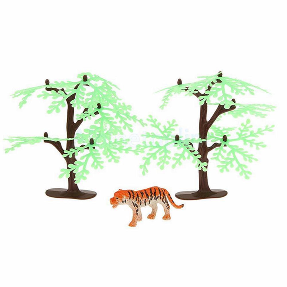 model-building 68PCS Plastic Farm Yard Wild Animals Fence Tree Model Kids Toys Figures Play New HOB1186300 3