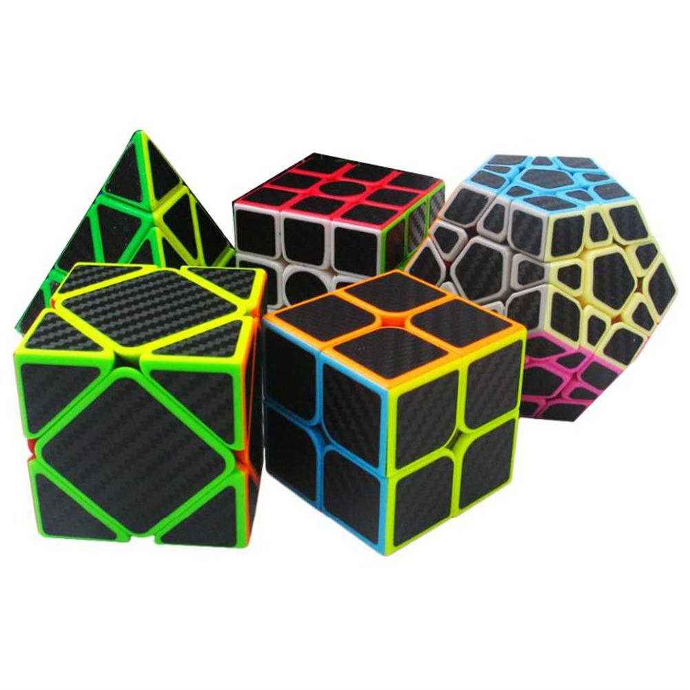 stress-relievers 5Pcs Per Box Carbon Fibre Magic Cube Pyraminx Dodecahedron Axis Cube 2x2 And 3x3 Cube Speed Puzzle HOB1201688
