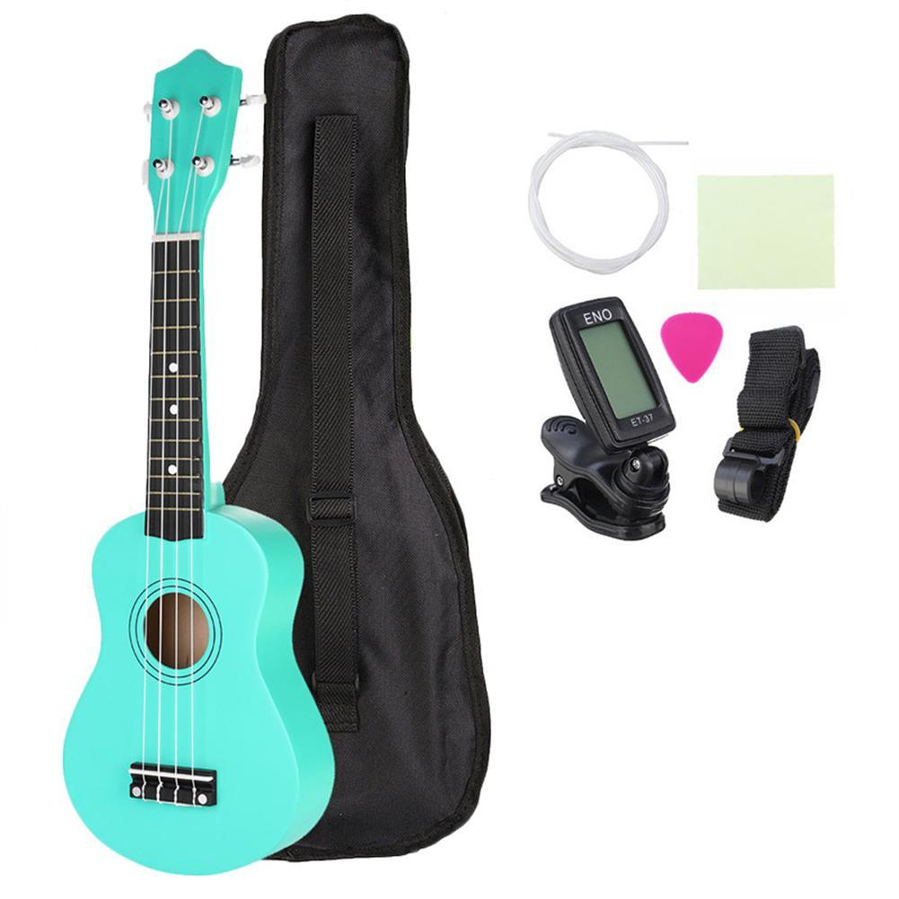 ukulele 21 inch Basswood Soprano Ukulele with Gig Bag Tuner Green HOB1201919